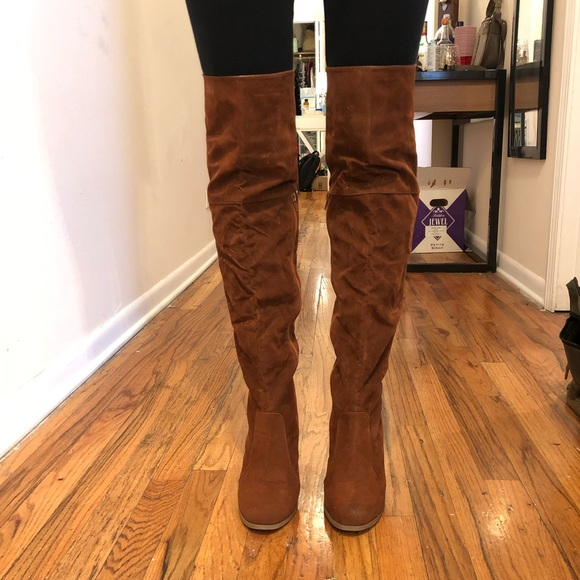 Cognac Suede Over The Knee Boots